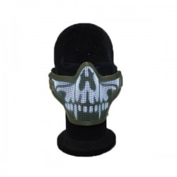 Airsoft 2G Half Face Skull Mask Green Fang
