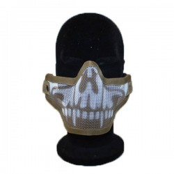 Airsoft 2G Half Face Skull Fang Tan Mask