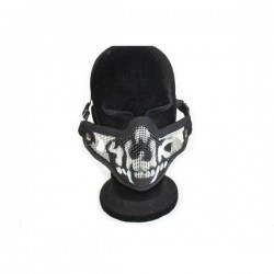 Airsoft 2G Half Face Skull Mask Black Fang