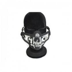 Airsoft 2G Half Face Skull Mask Black Fang