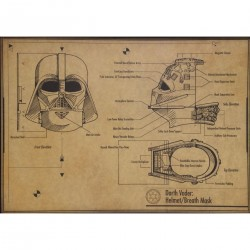 Star Wars : Lámina plano diseño casco respiración de Darth Vader