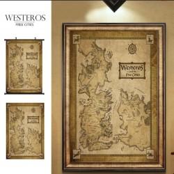 Juego de Tronos: Mapa 60 cm x 90 cm !! de Poniente y las ciudades libres.