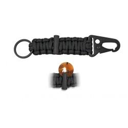 Mosquetón con anilla y pedernal paracord negro