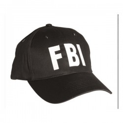 FBI Miltec Black Embroidered White Cap