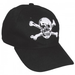 Max Black Embroidered Bone Skull Cap