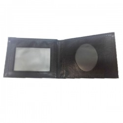 Wallet Leather Wallet 4 Compartments Round Black