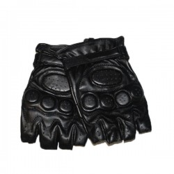 Leather Glove Fingers Cut Reinforcements Black