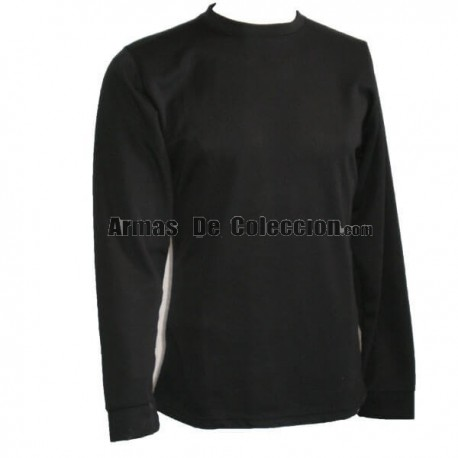 T-shirt preta térmica de manga comprida Foraventure