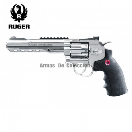 """Revólver Ruger SuperHawk 8"""" Chrome - 6MM - CO2 - Full Metal"""