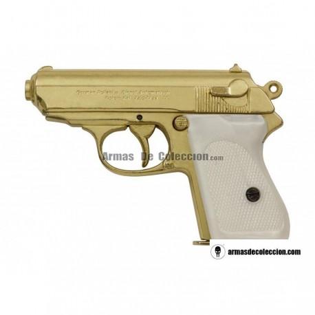 Walther PPK versión lujo oro-marfil (simulado)
