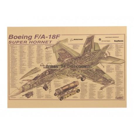 Lámina Infograma de un Boeing F/A-18 Super Hornet