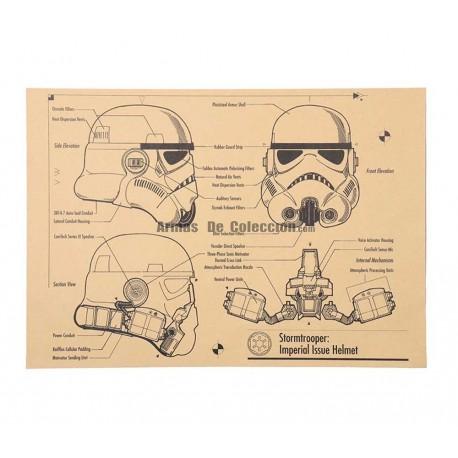 Star Wars: Lámina infograma del casco de lo Stormtroopers del Imperio