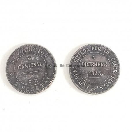 Réplica moneda 2 pesetas de la revolución cantonal de Cartagena.