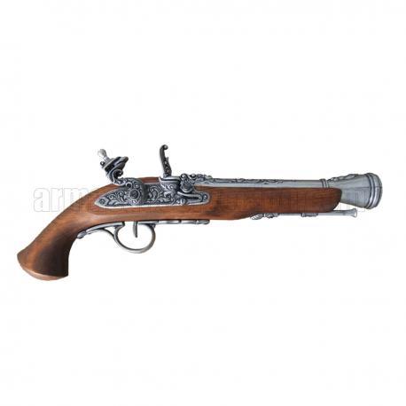 Flintlock pistola, século XVIII. prata