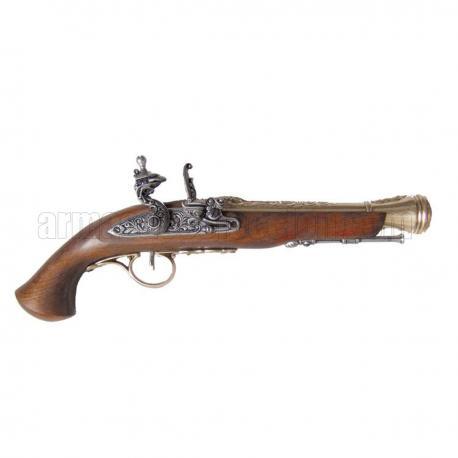 Flintlock pistola, século XVIII. ouro