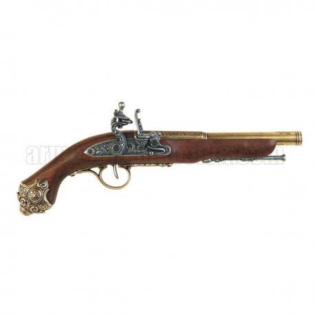 Pistola Flintlock, século XVIII. ouro