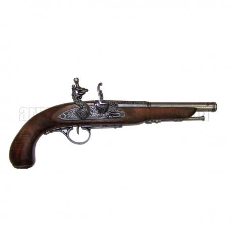Flintlock pirate pistol, 18th. C. (left-handed). silver