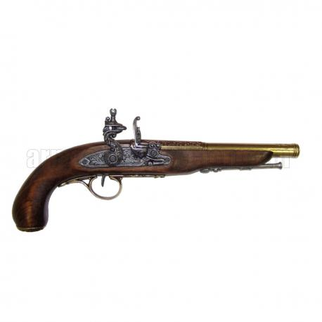 Flintlock pirate pistol, 18th. C. (left-handed). gold