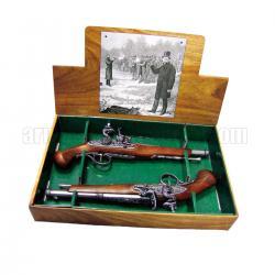 2 pistolas de duelo de percusión, siglo XVIII