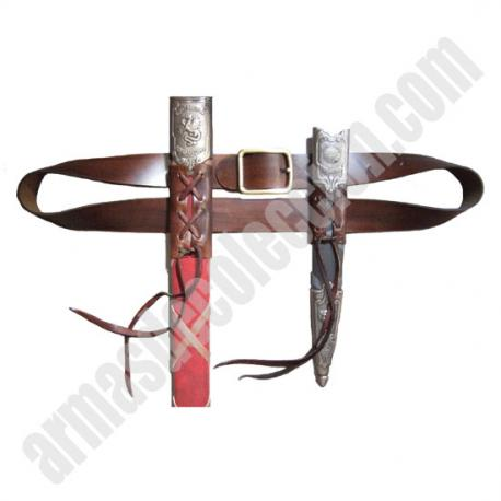 Leather sword and dagger belt.