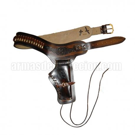 Leather cartridge belt for one revolver including bullets