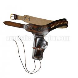 Leather cartridge belt for one revolver including bullets (left