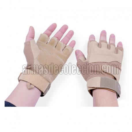 Tactical Half finger Gloves for Airsoft. TAN