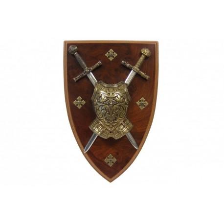 Panoplia con coraza y 2 espadas