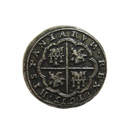 Moeda de 100 Reales de prata (peça de oito) Felipe IV 1635