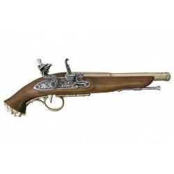 Pistola pirata de chispa, siglo XVIII. Oro viejo