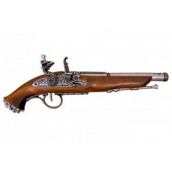 Pistola pirata de chispa, siglo XVIII. Plata vieja