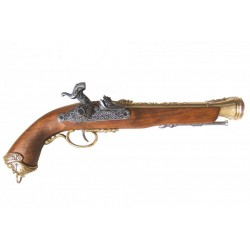 Italian flintlock pistol, 18th. Century. Gold