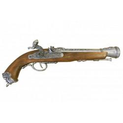 Pistola italiana de percusión, siglo XVIII. Plata vieja