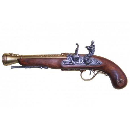 Pistola Pirate percussão, século XVIII (canhoto). ouro