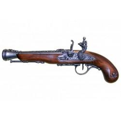 Pistola pirata de chispa, S.XVIII (zurda). plata vieja