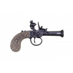 pistola de pederneira Inglês, ano 1798 prata