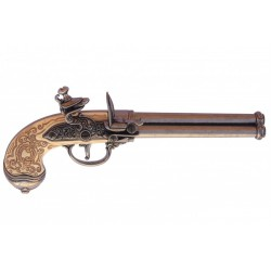 Three-cannon pistol, manufactured by Lorenzoni, Italy 1680. Silv