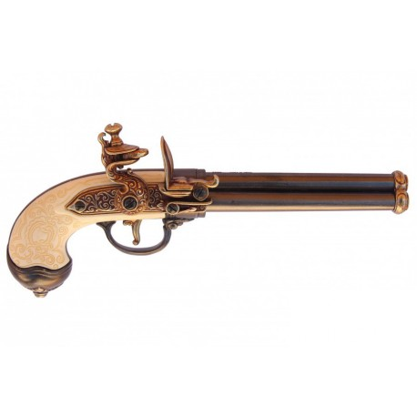 Three-cannon pistol, manufactured by Lorenzoni, Italy 1680. gold