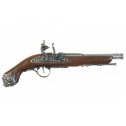 Pistola de percusión, siglo XVIII. Plata vieja