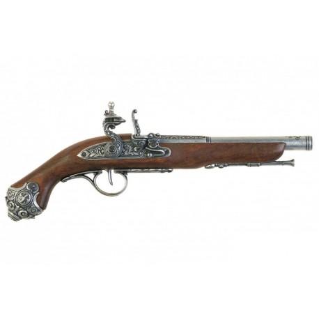 Pistola Flintlock, século XVIII. prata