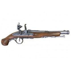 Pistola de chispa del siglo XVIII. plata vieja