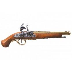 Pistola de chispa del siglo XVIII. oro viejo