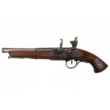 Flintlock pistol, France 18th. C. (left-handed). silver