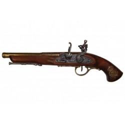 Pistola de chispa, Francia siglo XVIII. (zurda). oro viejo