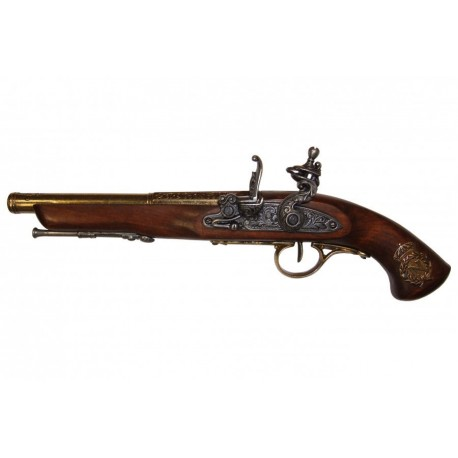 Flintlock pistol, France 18th. C. (left-handed). gold