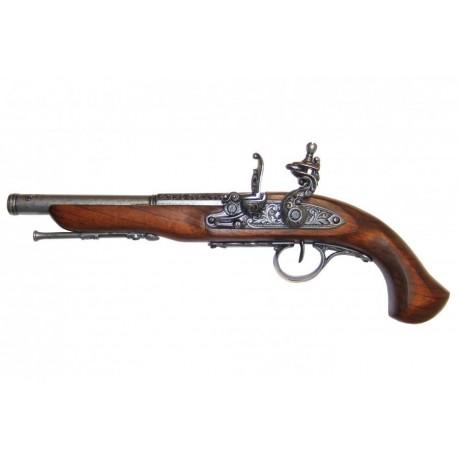 Flintlock pistola do século XVIII (canhoto). prata