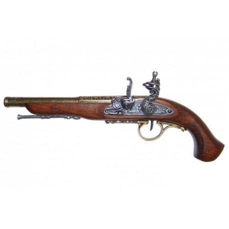 Flintlock pistola do século XVIII (canhoto). ouro