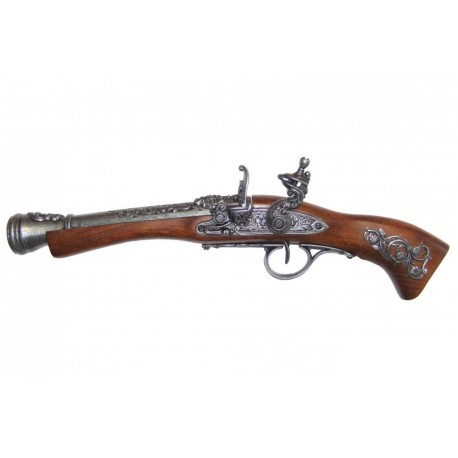 Flintlock blunderbuss, 18th. C. (left-handed). silver