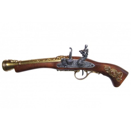 Flintlock blunderbuss, 18th. C. (left-handed). gold