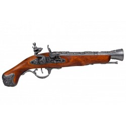Pistola de chispa inglesa S.XVIII. Plata vieja
